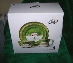 THE  CELLAR  CERAMIC XMAS  DISHES  CUP SET  CHRISTMAS LOG CABIN   *CLOSEOUT