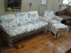Vintage Wrought Iron Patio Sunroom Set Couch Chair and Ottoman  - #00250