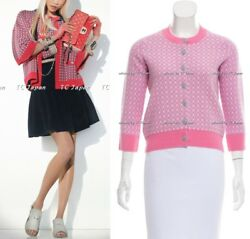 CHANEL 14P 14S Pink Cashmere 100% Crew Neck Cardigan NWT