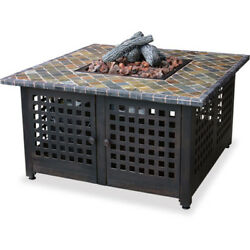 Patio Heater Fire Pit Table Outdoor LP Gas Fire Pit Slate Mantel Fireplace Deck