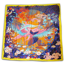 Hermes Carre 140 Shawl Stole Scarf FLAMINGO PARTY Cashmere Silk Floral Women New