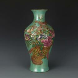 CHINESE OLD MARKED FAMILLE ROSE GREEN GLAZE RELIEF FLOWER PATTERN PORCELAIN VASE