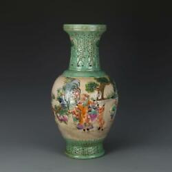 CHINESE OLD MARKED FAMILLE ROSE GREEN GLAZE RELIEF FIGURE STORY PORCELAIN VASE