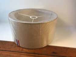 Set of 2 Natural Tan Linen Fabric Table Lamp Shades Straight Side Drum Modern $79.99