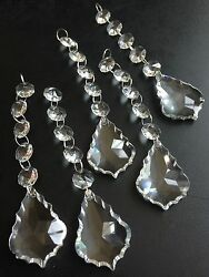 5ps Clear Crystal Glass Maple Leaf French Prisms 1.5quot; Chandelier Lamp Part Chain $11.96