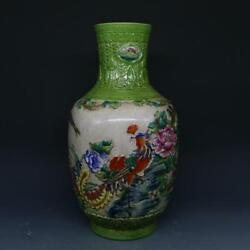 CHINESE OLD MARKED FAMILLE ROSE GREEN GLAZE RELIEF FLOWER & BIRDS PORCELAIN VASE