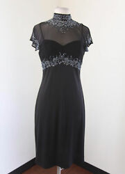 Vtg Stenay Black Mesh Cutout Collared Beaded Sequin Cocktail Evening Dress Sz 8 $49.99