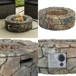 Fire Pit Outdoor Propane Gas Patio Backyard Deck Fireplace Heater With Cover