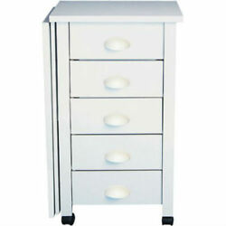 Craft Center Desk Mobile White Sewing Computer 5 Drawers Moves Easy Durable