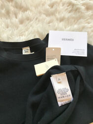 HERMES Black Crewneck Cotton Silk Cashmere Women's Size 34