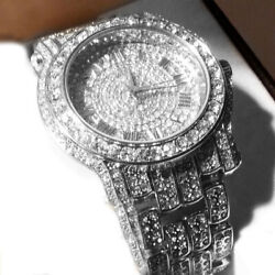 Men's 18K White Gold Watch Bling Iced Out Stoned Hip Hop Watches ITALY MADE