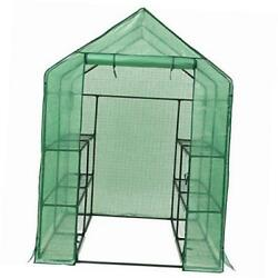 walk-in plant greenhouse with pe cover 3-tier 12-shelf garden house for
