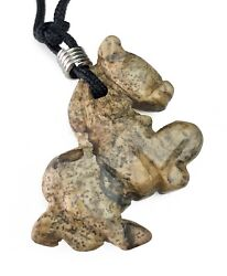 Picture Jasper Horse Pendant Hand Carved Gemstone Jewelry Necklace