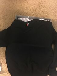 Thom browne knit size 3 RELAXED CREWNECK PULLOVER IN BLACK MERCERIZED MERINO