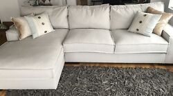Modern Living Room Large Linen Sectional Sofa with Extra Wide Chaise Beige $960.00