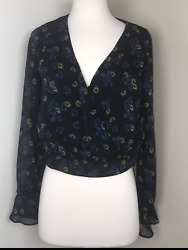 Xhilaration size XS misses long Floral sleeve crop top $11.99