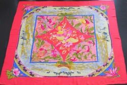 Hermes Stole Shawl Scarf Cashmere Silk TROPIQUES Animal Pink Women Auth New Rare