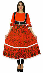 Bimba Orange Flaired Kurti Printed Cotton Kurta Indian Designer Clothing Dress