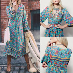 Womens Ladies Summer Beach Sundress Boho Evening Party Cocktail Long Maxi Dress $17.57