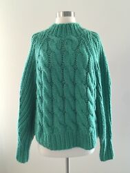 NEW JCREW Collection Cashmere Mohair Cable Mock Neck Sweater M $500 F7064 Green