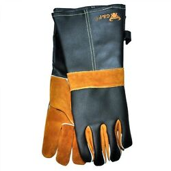 G & F Cowhide Grain Leather BBQ and Fireplace Gloves with Extra Long Cuff