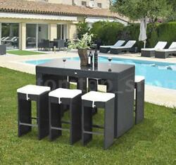 7 Piece Outdoor Rattan Wicker Bar Pub Table & Chairs Patio Dining Set - S3L7