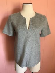 JCrew Collection Double-Faced Cashmere Top 2 XS Heather Dove Gray $895 NWT E1406