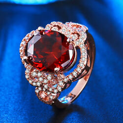 Fashion Women Oval Cut Red Garnet Rose Gold Plated Wedding Ring Size 6-10
