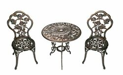 Antique Bronze Iron Patio Bistro Set Table And Chairs 3 Pcs Garden Outdoor Furn