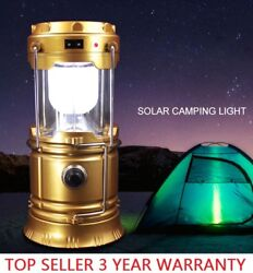 Solar 6 LED Portable Light Rechargeable Lantern Outdoor Camping Hiking Lamp