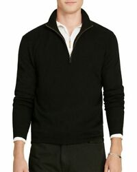 Polo Ralph Lauren Italian Cashmere Yarn 12 Zip Sweater Men's XL Black NWT $398