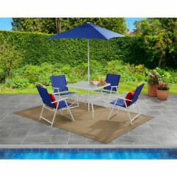 Mainstays 6-Piece Folding outdoor Furniture Garden chair table Set Blue New seat