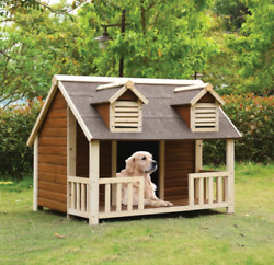 Extra Large Dog House Adult Breed Log Cabin Raised Floor Porch Wood Outdoor Home