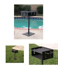 Outdoor Park Style Charcoal  Wood Grill W Post  Patio Base Plate Grate S