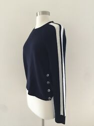 NEW JCREW FOR NET A PORTER CASHMERE SWEATER WITH SPORTY STRIPES F6686 SMALL NAVY