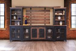 Greenview Rustic Modern Farmhouse Barn Door Media Wall Unit - Distressed Black