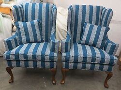 Pair of Hickory Chair Wings in Blue & Cream Greek Key Fabric - Can Ship