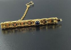 Men's 18k Yellow Gold Tie Bar W Genuine Sapphire & Button Chain From Italy