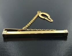 Men's 18k 2tone tie bar with button chain imported from Italy