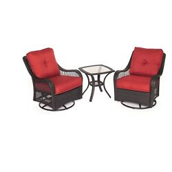 3 Pc Red Outdoor Patio Bistro Set 2 Swivel Chair Table Deck Furniture backyard