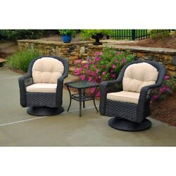 Outdoor Bistro Set With Swivel Rocker Chairs Seat Cushions Patio Furniture 3 Pcs