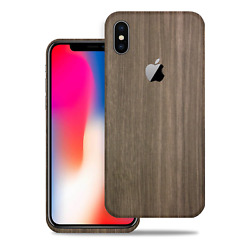 SOJITEK for Apple iPhone X Brown Wood Protective Vinyl Skin Cover Decal Stickers