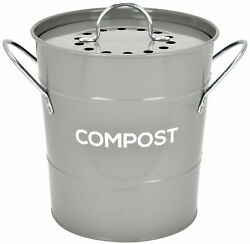 Spigo Steel Kitchen Compost Bin With Vented Charcoal Filter and Bucket Grey 1 $25.24