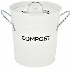 Spigo Steel Kitchen Compost Bin With Vented Charcoal Filter and Bucket White 1 $25.24