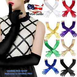 Women#x27;s Evening Party Formal Gloves 22quot; Long Black White Satin Finger Mittens $6.90