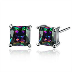 Authentic 18K White Gold Plated Round Mystical Fire Topaz Cz Stud Earrings