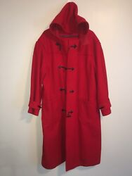 VTG Polo Ralph Lauren Red Mens Full Length Hooded Wool Toggle Coat Large L Used
