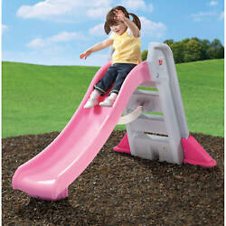 Step2 Big Folding Fun Slide With High-Side Rails Kids Outdoor Play Set Pink