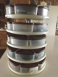 Vintage Sewing Supply Lot Tupperware Modular Mate Lazy Susan Spice Rack