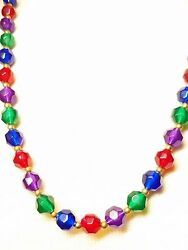 Vintage Blue Green Purple and Red 30 Inch Lucite Vintage Necklace $28.21